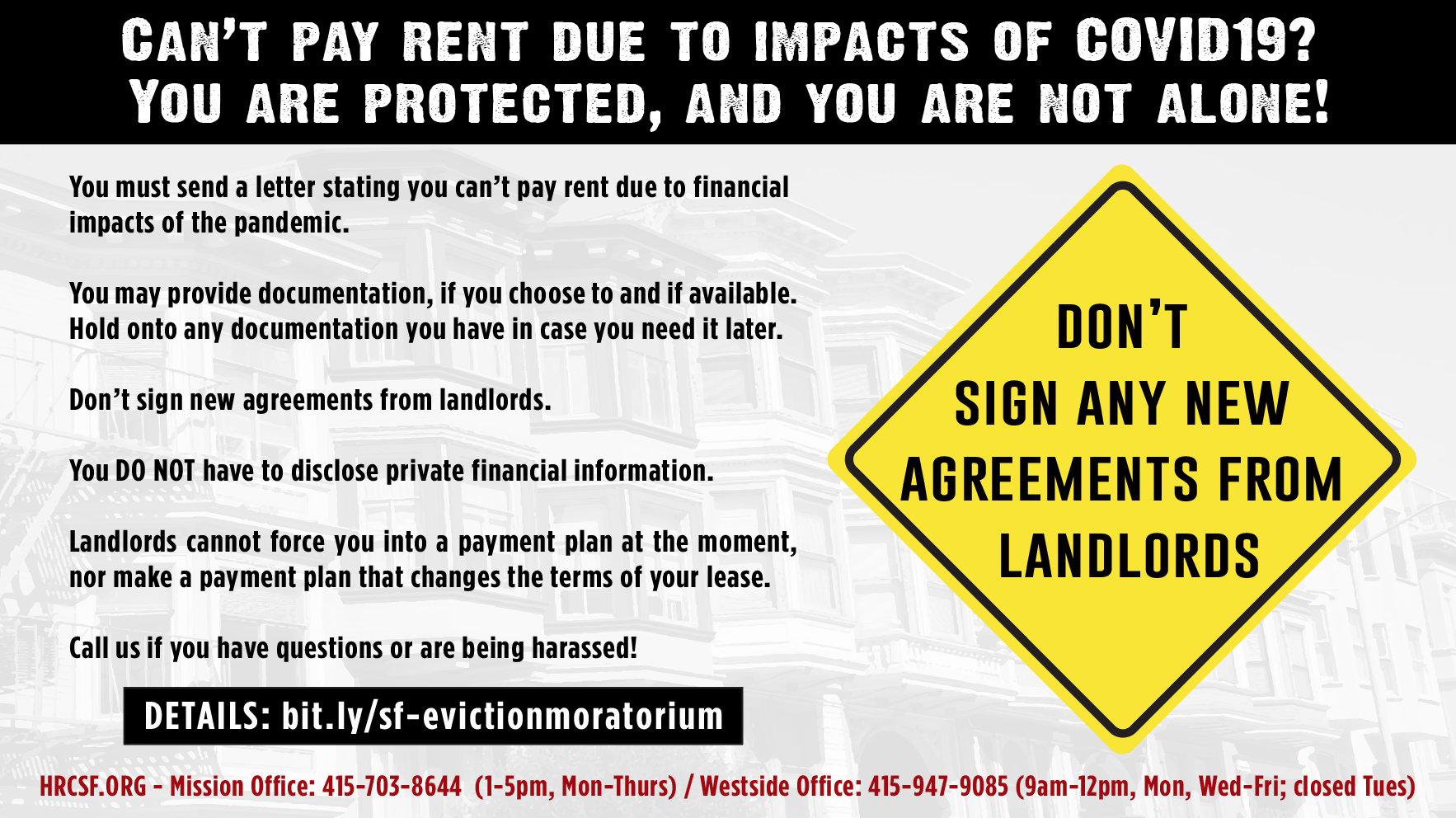 EVICTION MORATORIUM, RENT FREEZE, & OTHER COVID-19 INFO FOR SF TENANTS ONLY